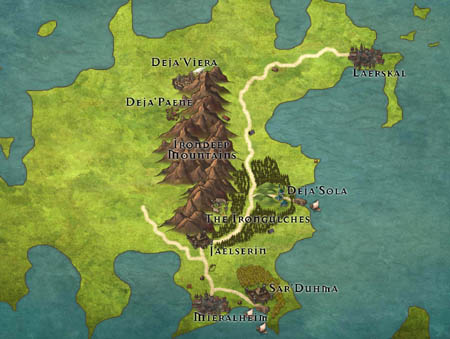 Map of the continent of Khalinaam in the world of Orin's Gate