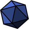 A grayscale, unmarked d20 die.